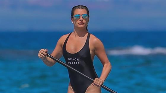 Lea Michele Does Paddle Board Yoga