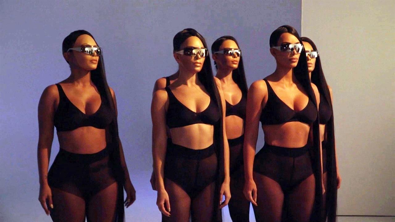 "See Kim Kardashian Pose With ""Crazy"" Clones for a Futuristic Sunglasses Campaign"