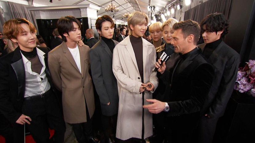 bts teases better and harder new album at the 2020 grammys e online bts gives a preview of their grammys performance